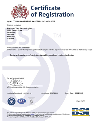 Mold Quality Certification